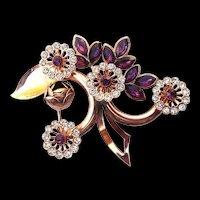 Vintage Rhinestone & Purple Crystal Botanical Brooch