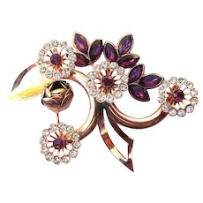 Vintage Rhinestone & Purple Crystal Botanical Brooch
