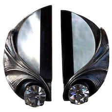 Dutch Designer Signed Ermani Bullati Earrings With Mother of Pearl Ebony & Swarovski Crystals