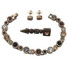 Lovely Vintage Hand Signed Patricia Locke Bracelet Earrings Brooch Set
