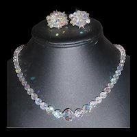 Aurora Borealis Crystal Attention Getting Earrings Necklace Set Vintage AB Set