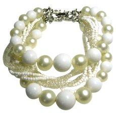 Signed Marvella Bead Torsade Bead Bracelet