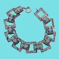 Antique Filigree  Silver Bracelet With Enamel Flowers Cannetille Spun Silver