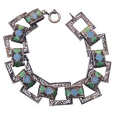 Antique Filigree  Silver Bracelet With Enamel Flowers Cannetille Spun Silver