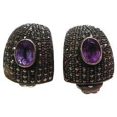 Sterling Silver & Marcasite Amethyst Earrings - Clip On