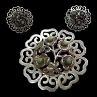 Vintage Mexican Sterling Silver Filigree Flower Brooch With Matching 900 Silver Earrings Signed MFR