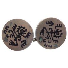 Early Mexican Sterling Silver Ozomatli Monkey Earrings
