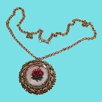 Red Reverse Glass Rose Pendant Necklace With Double Rolo Chain