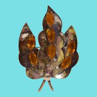 Signed Jolle Large Sterling Silver Brooch With Amber Crystals