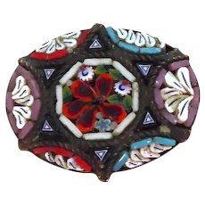 Small Antique Micro Mosaic Pin With 6 Pointed Star - Made Italy