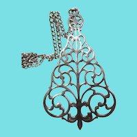 Signed Reed & Barton Christmas Tree Pendant Necklace Ornament Fleur de Lis Stem