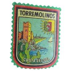 Vintage Printed Torremolinos  Travel Patch - Spanish Mediterranean Resort Town