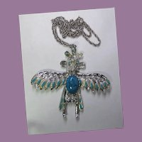 Southwest Necklace With Native American Birdman Symbol Silvertone & Faux Turquoise