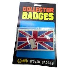 "Vintage Union Jack Patch UK Flag in Original Package - Cash's Woven Badge 3.5x2"""