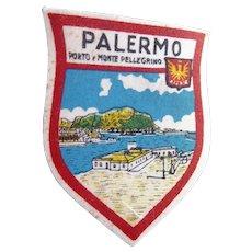 Vintage Printed Palermo (Sicily Italy) Patch Porto e Monte Pellegrino