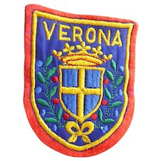Vintage Woven Verona (Italy) Travel Patch Coat of Arms Shield Shape