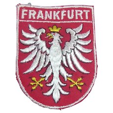 Vintage Woven Frankfurt Germany Travel Patch With Crowned Eagle Coat of Arms