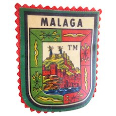 Vintage Printed Malaga (Spain) Travel Patch - Coat of Arms Southern Port Spain