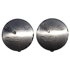 Round Vintage Sterling Silver Cuff Links Initials & Engraved Design