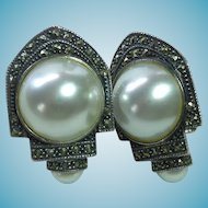 Large & Lovely Designer Signed Judith Jack Sterling Marcasite & Faux Pearl Statement Earrings