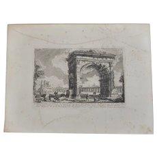Antique Giovanni Battista Piranesi Etching of A Veduta Dell' Arco di Gallieno Rome