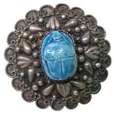 Large Egyptian 800 Silver & Faience Scarab Brooch Circa 1945 With  Hallmarks
