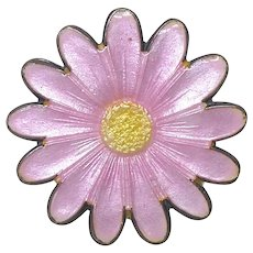 Sterling Silver Pink & Yellow Enamel Flower Pin Brooch Signed With Triangle Mark