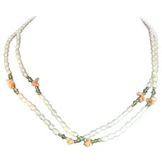 Vintage Double Strand Freshwater Pearl Necklace With Pink & Green Beads