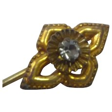 Antique Stickpin Stick Pin With Glass Stone in Fancy Brass Setting