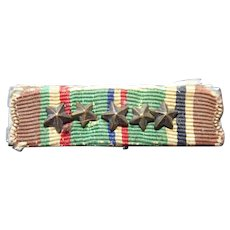 Vintage WWII EAME Ribbon Bar With 5 Bronze Stars Europe Africa Middle East
