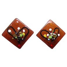 A Pair of Mid Century Modern Copper & Enamel Diamond Shape Brooches or Pins