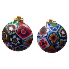 Vintage Italian Millefiori Cane Glass Earrings Clip Ons - Art Glass