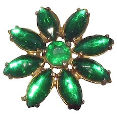 "Big Green Vintage Crystal Rhinestone Button - 1.5"" Vintage Flower"