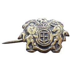 Antique Lion & Unicorn Crest UK Royal Coat Of Arms Tie or Cravat Pin