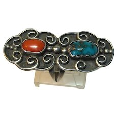 Signed Wynona Native American Silver Ring With Turquoise & Coral