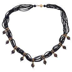 Beautiful 585 14K Gold Black Beaded Necklace Signed H in an Oval