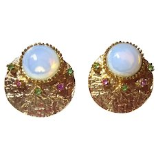 Beautiful Faux Moonstone & Colored Crystal Clip On Vintage Earrings