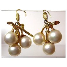 Vintage 14K Gold Filled & Faux Pearl Earrings Made In Germany