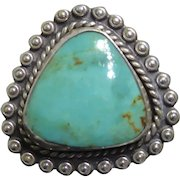 Native American SUNBELL Bell Trading Post Sterling Silver & Turquoise Ring Size 6.5