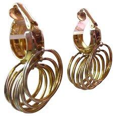 Bold Retro Circle Dangle Clip On Golden Earrings