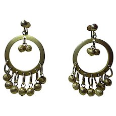 Cute Retro Screw Back Earrings Golden Circles With Dangles