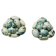 HONG KONG Clip Back Speckled Bird Nest Earrings Wired Beads Easter Eggs