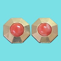 14K Gold and Coral Earrings Octagon Shape