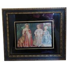 Vintage Miniature Print of 3 Renaissance Children With a Dog