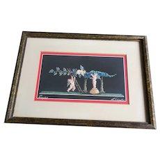 Signed Vintage Pompeii Fresco Gouache Painting of Cherubs Harvesting Grapes