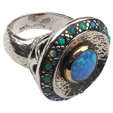 Beautiful Sterling Silver & 14K Gold Ring With Opal Stones Signed Facing G's