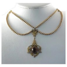 Antique Edwardian Festoon Necklace - 10K Gold Filled and Signed PSCO ~ Plainville Stock