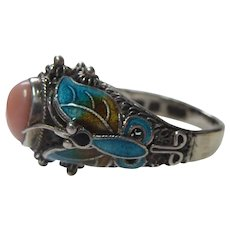 Sterling Silver Ring With Pink Stone and Enamel Butterflies - Signed BJ China