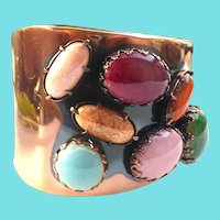 Mid Century Modern Signed Matisse Copper Scarab Bracelet With Art Glass Stones