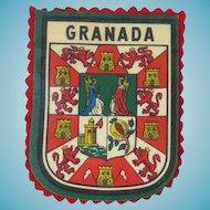 Vintage Printed Granada Travel Patch - On Red Felt